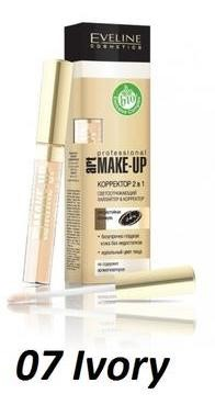 Eveline Корректор жидкий с аппликатором Art make-up Professional 2в1 т.07 ivory