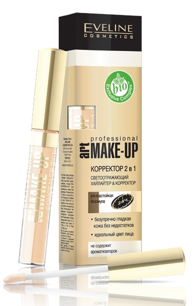 Eveline Корректор жидкий с аппликатором Art make-up Professional 2в1 т.08 porcelain